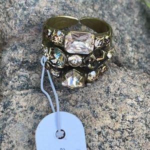 Sorrelli Neutral Swarovski Crystal Ring NWT $90